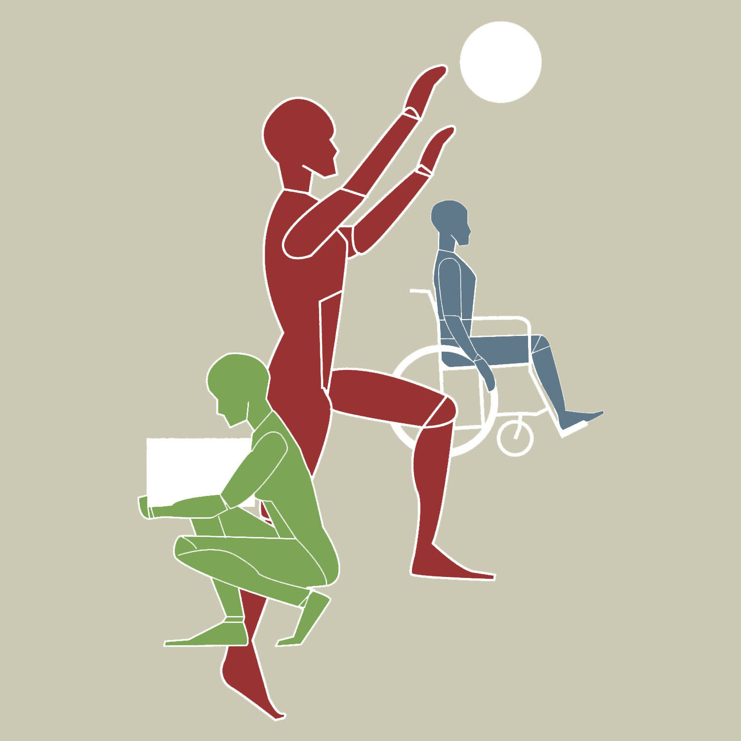 Graphic representing the 3 areas of Empowerment Ergonomics: Ergonomics, Accessibility and Wellness.